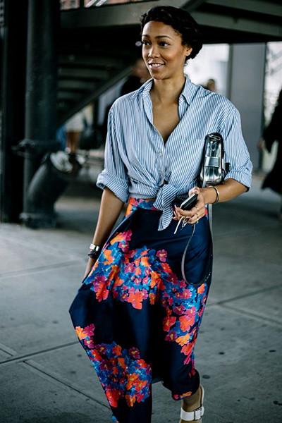 Inspiration randig skjorta blommig kjol