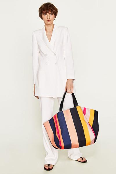Zara lång kombinerad jacka och utsvängd kostymbyxa