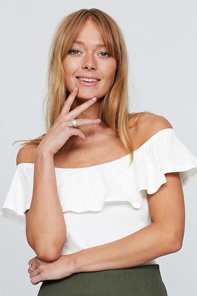 Gina Tricot vit off shoulder-topp