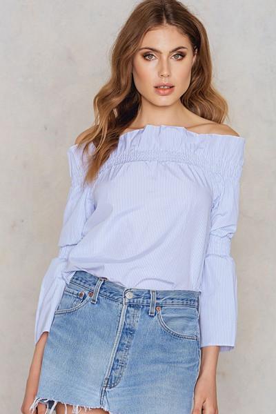 Trendyol ljusblå off shoulder-blus