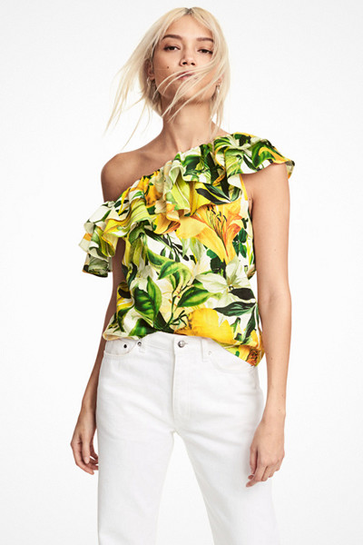 H&M citron-mönstrad one shoulder-topp