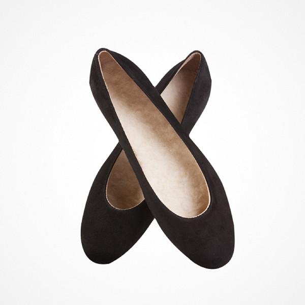 Flattered klassiska svarta ballerinaskor