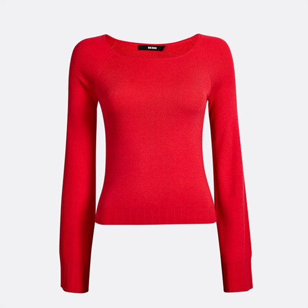 Bik Bok röd ribbstickad tröja