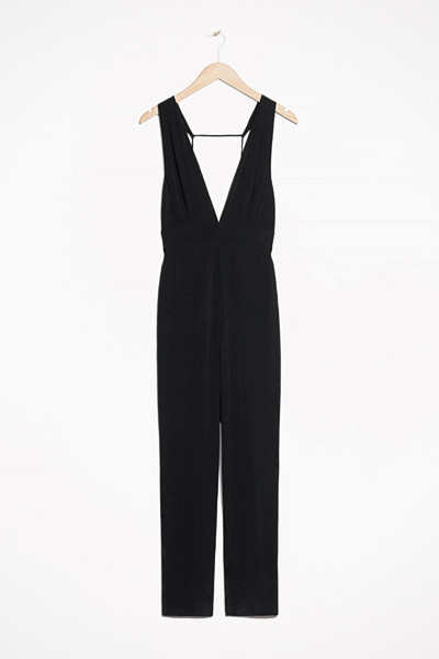 & Other Stories svart jumpsuit med öppen rygg