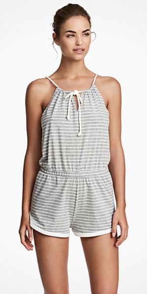 H&M ärmlös randig jumpsuit