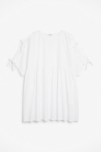 Monki vit oversize klänning med knytband längs ärmarna