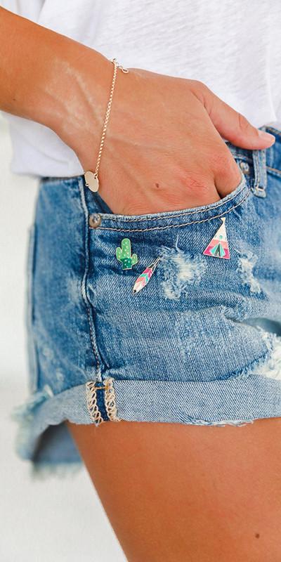 Inspiration pins på jeansshortsen