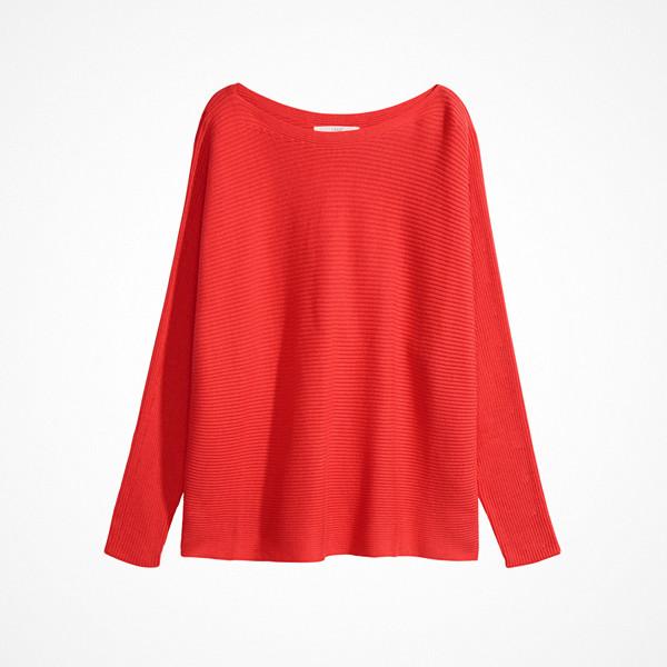 H&M korallröd tvärribbad tröja