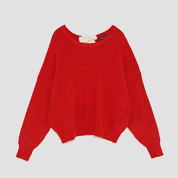 Zara röd tröja i oversizemodell med snörning i ryggen