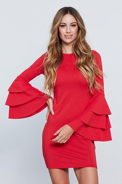 Gina Tricot röd klänning med volangärm