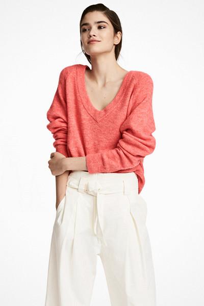 H&M rödkorall V-ringad tröja