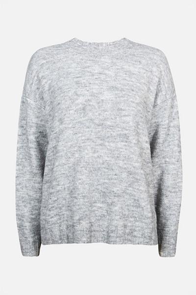 Cubus grå stickad tröja i mohairkvalitet med bred ribbstickad kant
