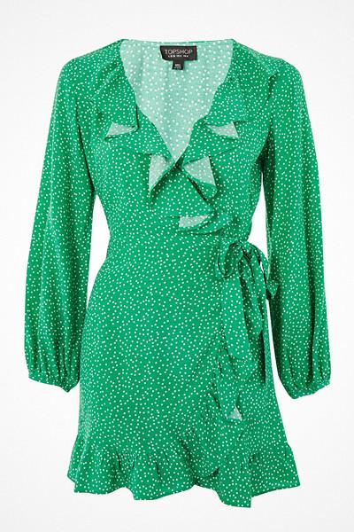 Topshop grön prickig klänning