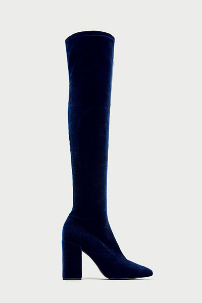 Zara marinblå högklackade stövlar i sammet