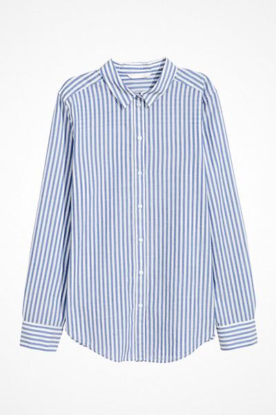 H&M blå randig bomullsskjorta