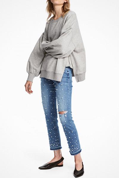 H&M jeans med pärlor