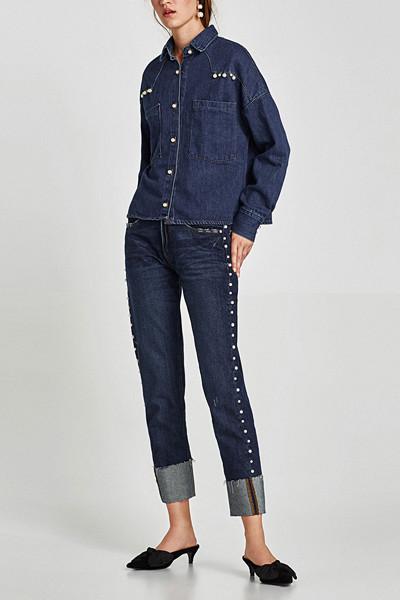 Zara jeans med pärlor
