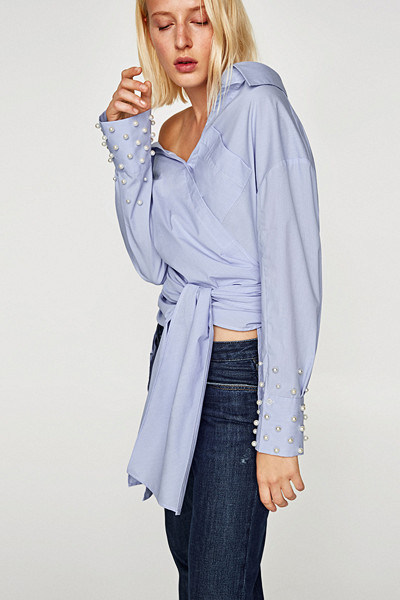 Zara blus med pärlor