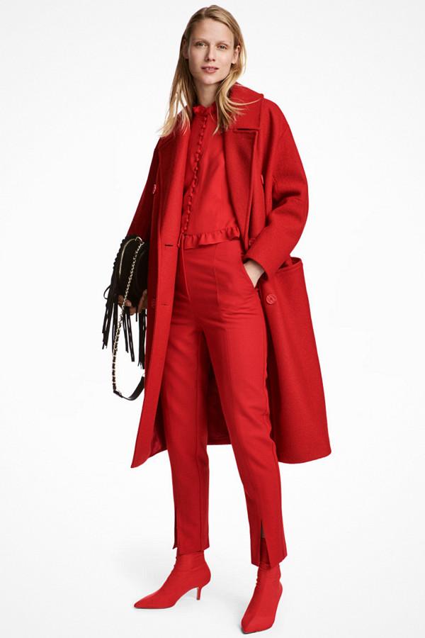H&M klarröd ullkappa
