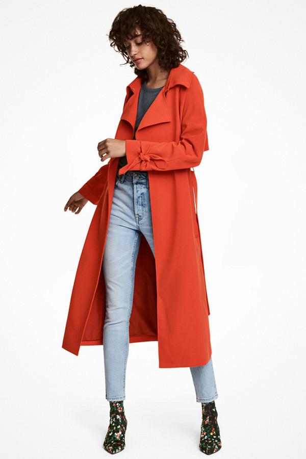 H&M klarröd trenchcoat