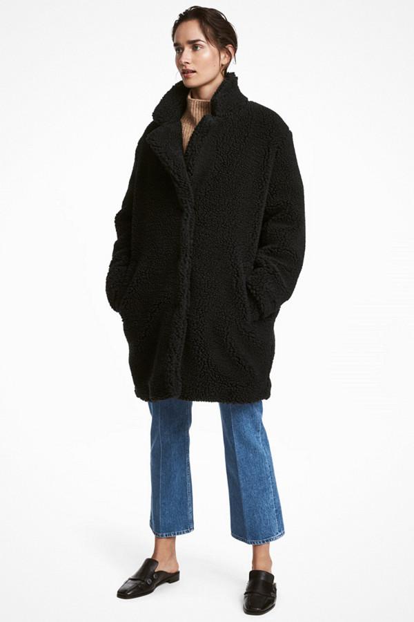 H&M svart teddy-jacka