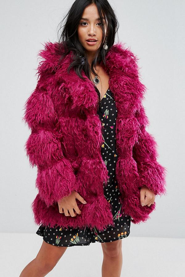 Glamorous Petite röd fuskpäls-jacka
