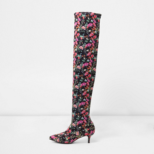 River Island blommiga lårhöga sock-boots