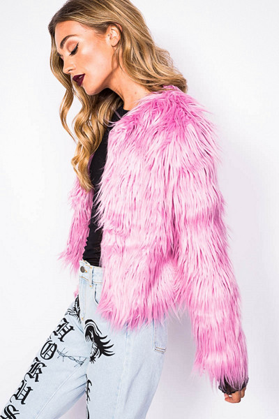 Glamorous rosa jacka i fuskpäls