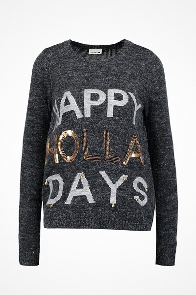 Noisy May stickad tröja med Happy Holidays motiv