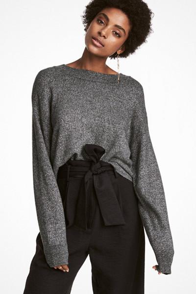 H&M grå glittrig finstickad tröja