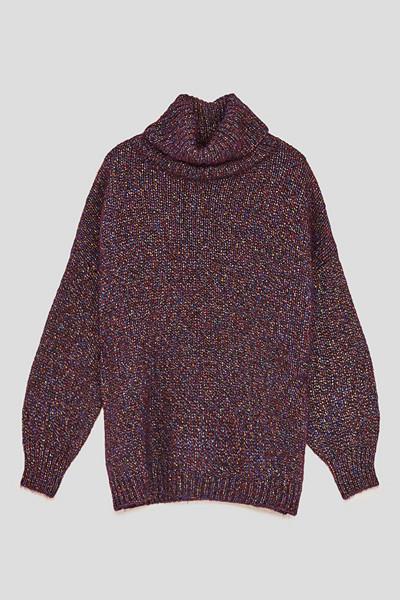 Zara glittrig oversizad stickad tröja