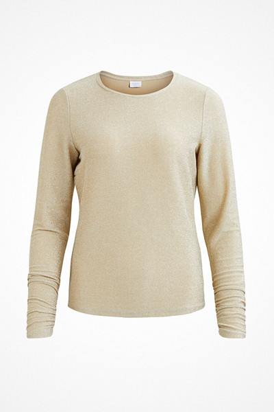 Vila glittrig tröja i guld/beige