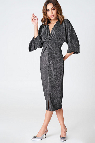 Hannalicious x NA-KD Glittery Kimono Slit Dress