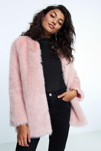 Gina Tricot rosa fuskpälsjacka