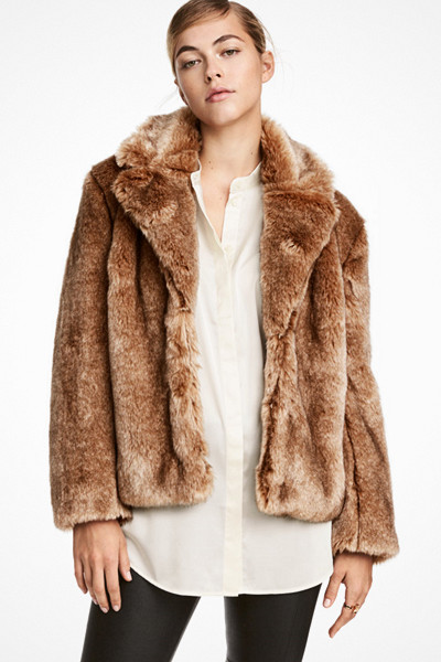 H&M ljusbrun fuskpälsjacka