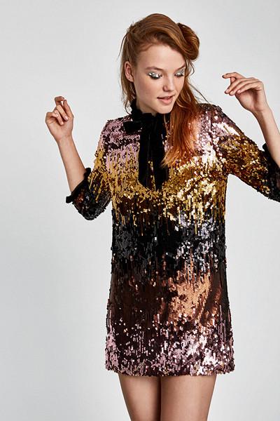 Zara klänning med paljetter i olika färger