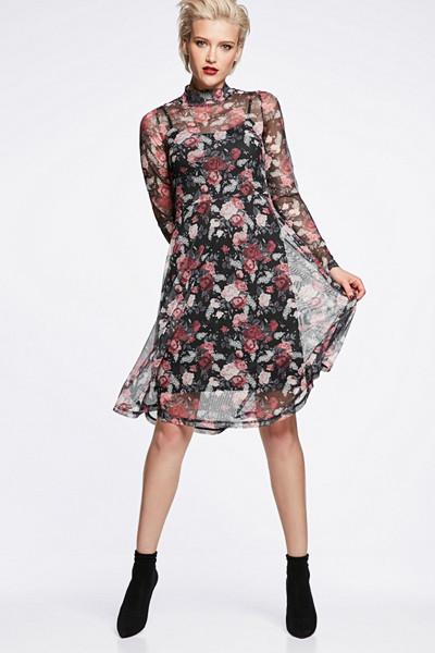 Cubus klänning i mesh med blomtryck