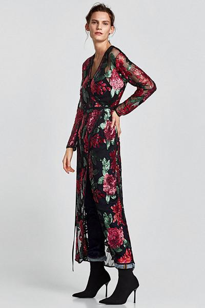 Zara omlottklänning med mönster och paljetter