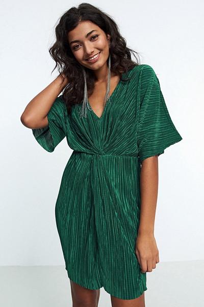 Gina Tricot grön plisserad klänning