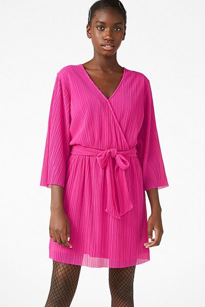 Monki rosa plisserad klänning