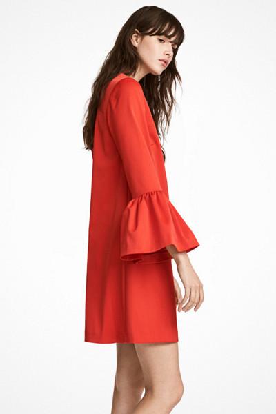 H&M klarröd klänning med volangärm