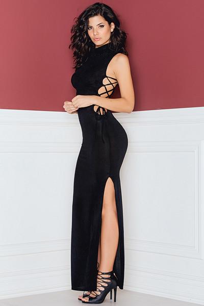 Rebecca Stella svart maxiklänning