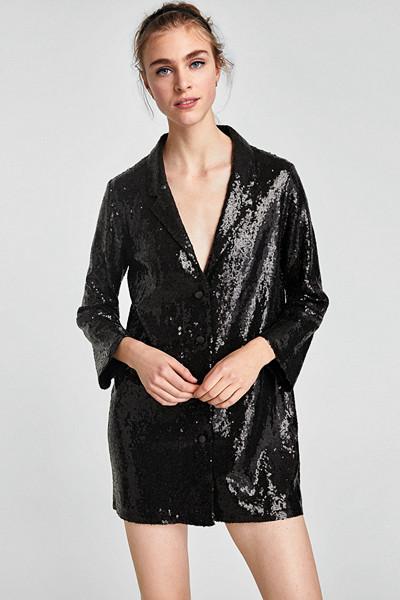 Zara svart klänning med paljetter