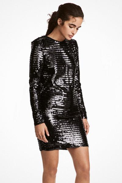 H&M svart Paljettklänning