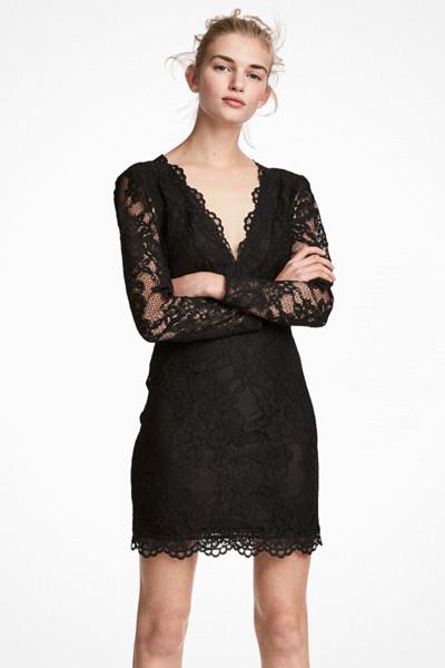 H&M svart kort spetsklänning