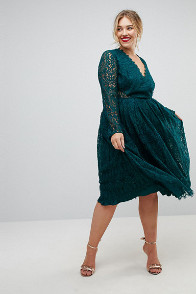ASOS Curve mörkgrön spetsklänning