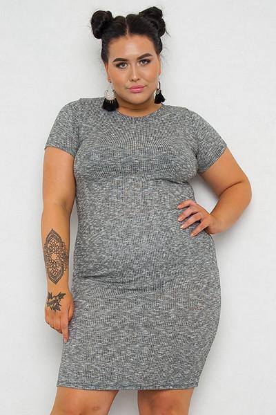 JFR grå ribbstickad klänning Mia