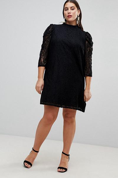 ASOS svart spetsklänning med puffärmar