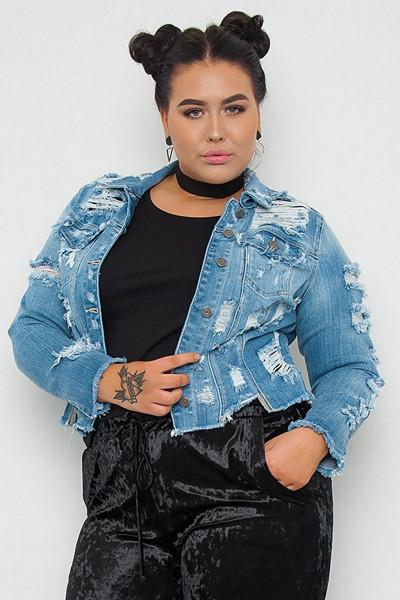 JFR blå jeansjacka med slitningar Lady G