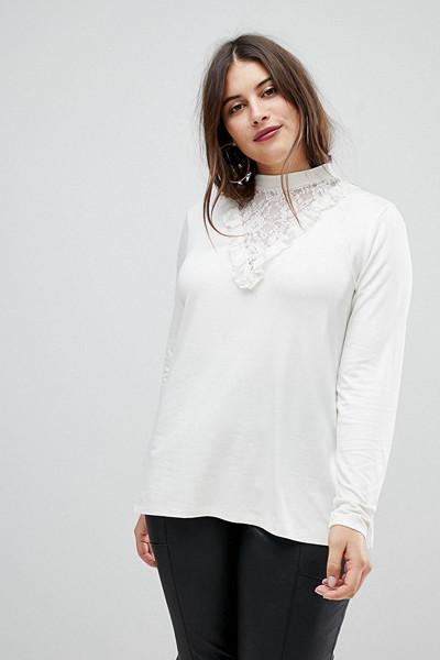 ASOS vit tröja med spetsdetaljer